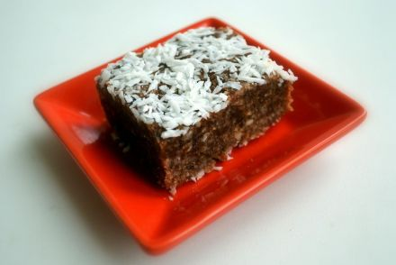 raw nuts and dates cake slice